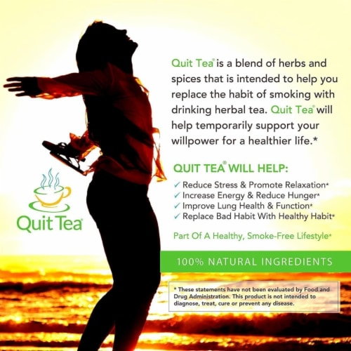 Quit Tea Stop Smoking Aid Tea Bags 20ct Natural Healthy Herbal Supplement Holistic Perspective: right