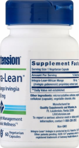 Life Extension Integra-Lean™ African Mango Irvingia 150mg 60 Count Perspective: right