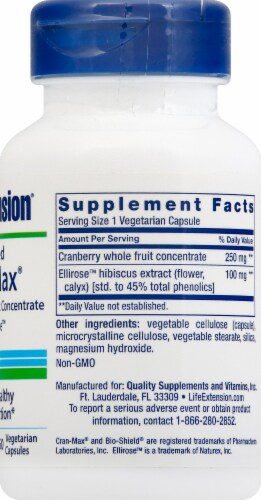 Life Extension Optimized Cran-Max Vegetarian Capsules Perspective: right