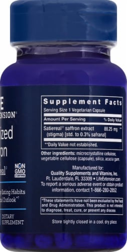 Life Extension Optimized Saffron with Satiereal Vegetarian Capsules Perspective: right