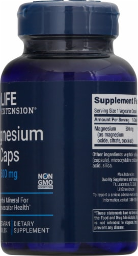 Life Extension Magnesium Caps 500mg Perspective: right