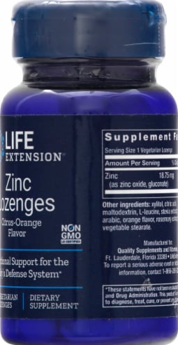 Life Extension  Zinc Lozenges   Natural Citrus Orange Perspective: right