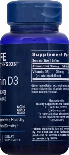 Life Extension Vitamin D3 Softgels 1000 IU Perspective: right