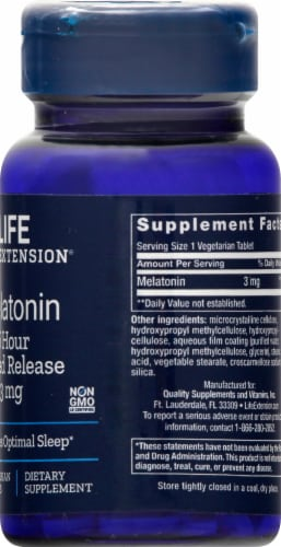 Life Extension Melatonin Vegetarian Tablets 3mg Perspective: right