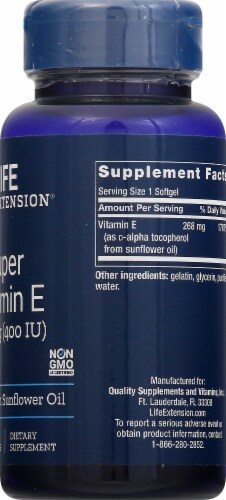 Life Extension Natural Vitamin E Dietary Supplement Softgels 268mg Perspective: right
