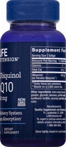 Life Extension Super Ubiquinol CoQ10 Softgels 100mg Perspective: right