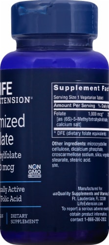 Life Extension Optimized Folate L-Methylfolate Vegetarian Tablets 1000 mcg Perspective: right