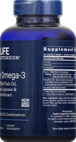 Life Extension Super Omega-3 Advanced Fish Oil Combination Softgels Perspective: right