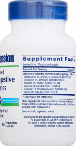 Life Extension Enhanced Super Digestive Enzymes Vegetarian Capsules 140mg 60 Count Perspective: right
