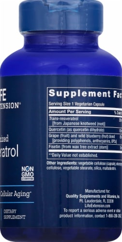 Life Extension Optimized Resveratrol Vegetarian Capsules Perspective: right