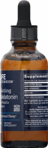 Life Extension Citrus-Vanilla Flavor Fast-Acting Liquid Melatonin Supplement Perspective: right