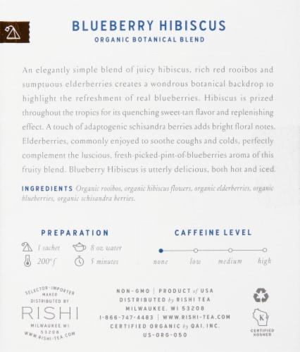 Rishi Tea Blueberry Hibiscus Organic Botanical Blend Tea Sachets Perspective: right
