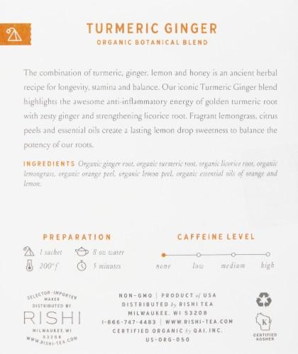 Rishi Tea Turmeric Ginger Organic Botanical Blend Tea Sachets Perspective: right