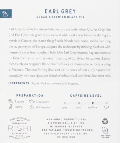 Rishi Tea Earl Grey Organic Scented Black Tea Sachets Perspective: right