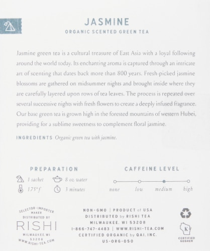 Rishi Tea Jasmine Organic Scented Green Tea Sachets Perspective: right