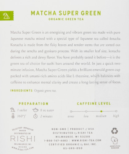 Rishi Matcha Super Green Organic Green Tea Sachets Perspective: right
