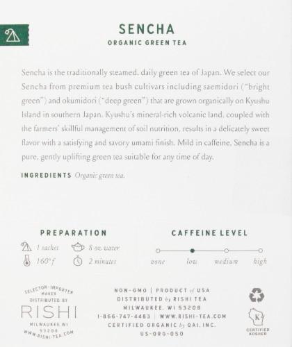 Rishi Tea Sencha Organic Green Tea Sachets Perspective: right