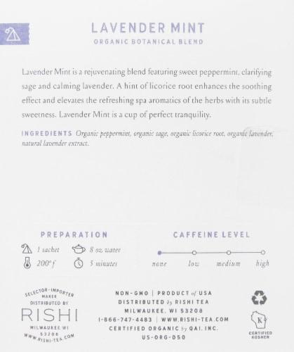 Rishi Tea Lavender Mint Organic Botanical Blend Tea Sachets Perspective: right