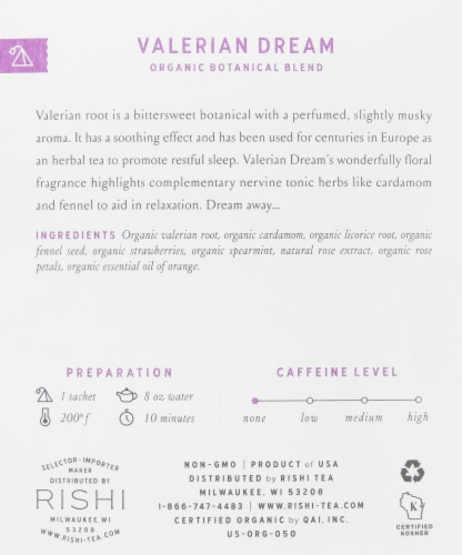 Rishi Organic Valerian Dream Tea Sachets Perspective: right