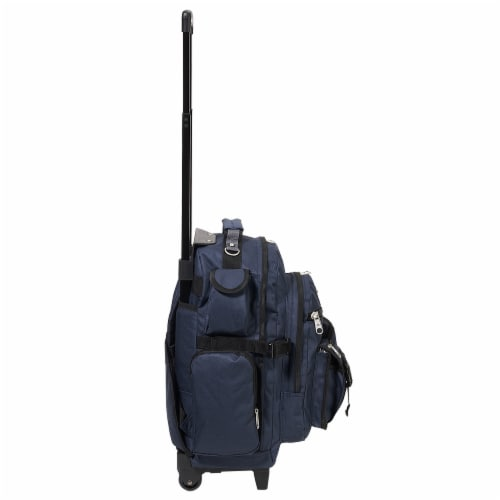 Everest Deluxe Large Wheeled Backpack - Navy Perspective: right