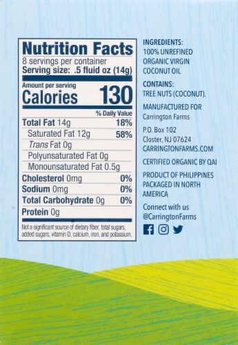 Carrington Farms  Organic Coconut Oil Paks Gluten Free 8 Count Perspective: right