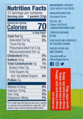 Carrington Farms  Organic Milled Flax Seed Paks Gluten Free 12 Count Perspective: right