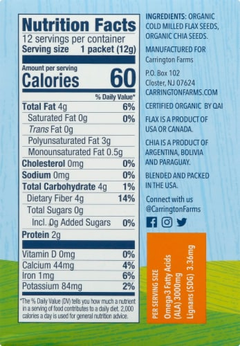 Carrington Farms  Organic Flax Chia Paks Gluten Free 12 Count Perspective: right