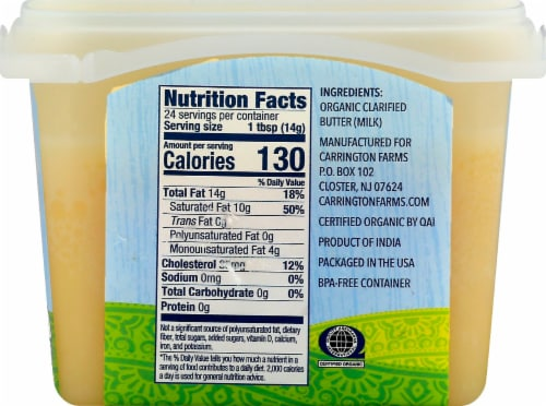 Carrington Farms Organic Grass Fed Ghee Clarified Butter Perspective: right