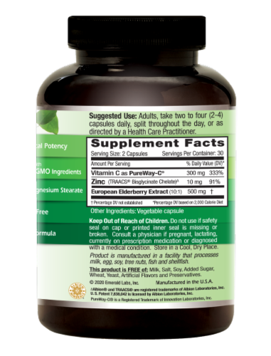 Emerald Elderberry + PureWay-C + Zinc Immune Support Vegetable Caps Perspective: right