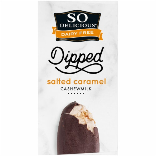 SO Delicious Dipped Salted Caramel Cashew Milk Non-Dairy Frozen Dessert Bars 4 Count Perspective: right