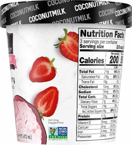 SO Delicious Dairy Free Strawberry Coconutmilk Frozen Dessert Perspective: right