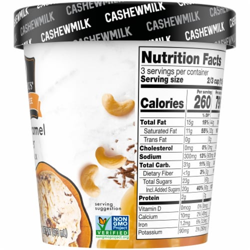 SO Delicious Salted Caramel Cluster Cashewmilk Non-Dairy Frozen Dessert Perspective: right