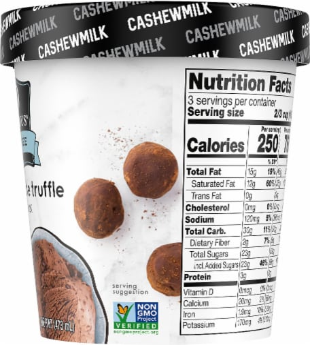 SO Delicious Dairy Free Dark Chocolate Truffle Cashewmilk Frozen Dessert Perspective: right