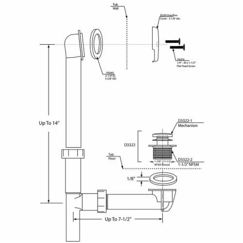 Westbrass 593244-62 Polymer Metal Overflow Tiptoe Bath Drain, Black (1 Pack) Perspective: right