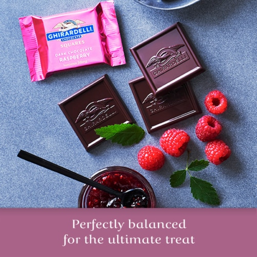 Ghirardelli Raspberry Filled Dark Chocolate Squares Perspective: right