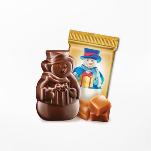 Ghirardelli Milk Chocolate Caramel Snowman Perspective: right