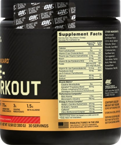 Optimum Nutrition Fruit Punch Gold Standard Pre-Workout Dietary Supplement Perspective: right