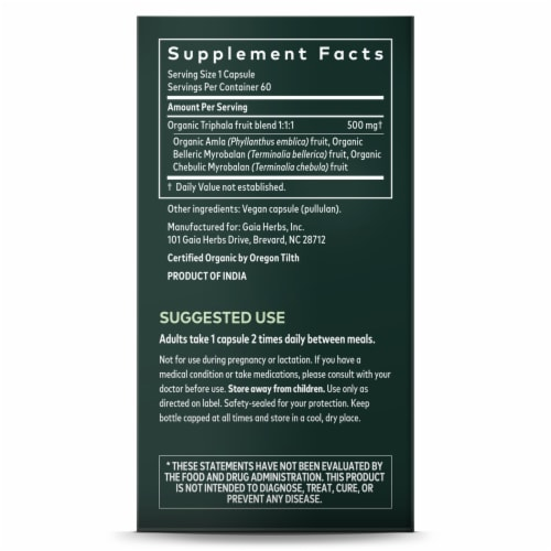 Gaia Herbs Triphala Fruit Dietary Supplement Perspective: right