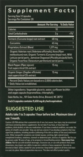 Gaia Herbs Curcumin Synergy Turmeric Supreme Pain P.M. Dietary Supplement Perspective: right
