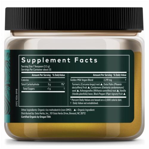 Gaia Herbs Golden Milk Powdered Tumeric Supplement Perspective: right