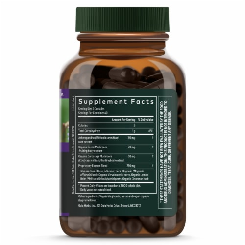 Gaia Herbs Adrenal Health Nightly Restore Vegan Capsules Perspective: right