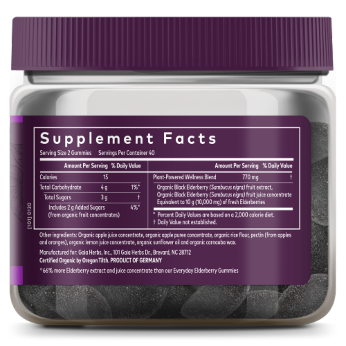 Gaia Herbs Black Elderberry Extra Strength Immune Support Vegan Gummies Perspective: right