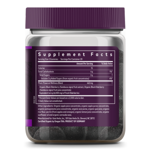 Gaia Herbs Black Elderberry Adult Daily Immune Support Gummies Perspective: right
