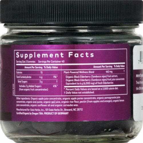 Gaia Herbs Everyday Elderberry Immune Support Vegan Gummies Perspective: right