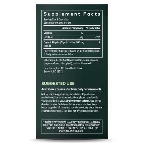 Gaia Herbs Black Seed Oil Respiratory Support Supplement Perspective: right