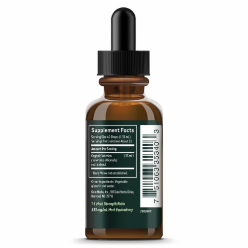 Gaia Herbs Valerian Root Alcohol Free Perspective: right