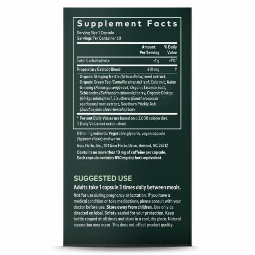 Gaia Herbs Energy Vitality Herbal Supplement Vegan Liquid Phyto-Caps Perspective: right