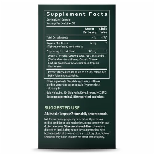 Gaia Herbs® DailyWellness Liver Health Dietary Supplement Perspective: right