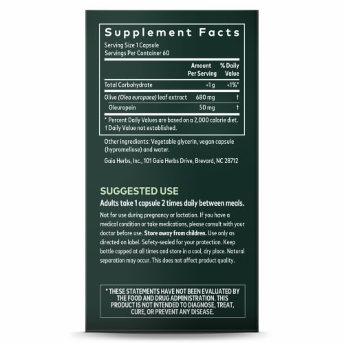 Gaia Herbs Olive Leaf Dietary Supplement Liquid Phyto-Caps Perspective: right