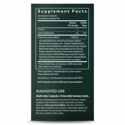 Gaia Herbs SystemSupport Hair Skin and Nail Support Dietary Supplement Perspective: right
